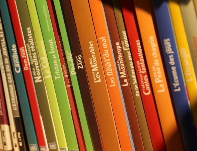 Livres sur une bibliothèque