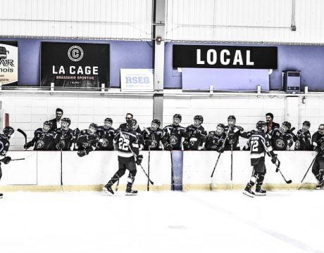Joueurs de hockey félicitant leurs coéquipiers sur le banc après un but